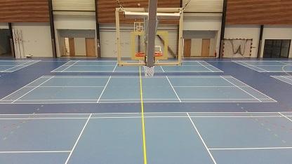 Traçage terrain badminton - Angers - Trace Plus